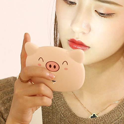 JKAD Led Beleuchtete Kosmetikspiegel Kosmetikspiegel Freistehende Korea Faltbare Desktop Kreative Tragbare Beleuchtete Kosmetikspiegel (Color : Piggy) -