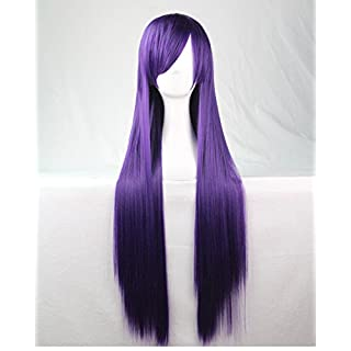 Womens/Ladies 80cm NAVY PURPLE Color Long STRAIGHT Cosplay/Costume/Anime/Party/Bangs Full Sexy Wig