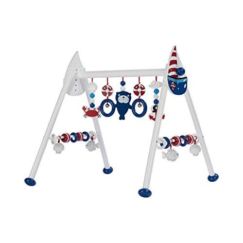 solini Spieltrapez maritim Holz höhenverstellbar / Spielbogen / Baby-Spielzeug / Holzspielzeug für Babys-Jungen-Mädchen