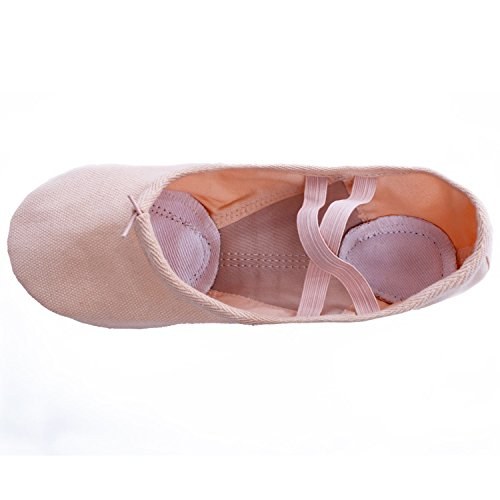 Oasap Women's Canvas Elastic Split Sole Ballet Dance Shoes Camel