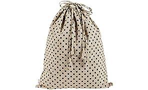 KANYOGA Cotton Printed Multipurpose Travel Laundry Bag (38 L x 38 W cm)-Beige & Blue Polka Dots