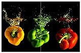 Wallario Herdabdeckplatte/Spritzschutz aus Glas, 2-teilig, 80x52cm, für Ceran- und Induktionsherde, Motiv Bunte Küche Paprika in orange und grün im Wasser