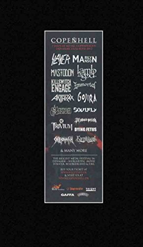 COPENHELL - 2012 Mastodon Lamb Of God Saxon Matted Mini Poster - 28x10cm