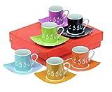 Espresso Tassenset Porzellan 6 Tassen & 6 Unterteller. Grösse 24 x 20,5 x 6 cm
