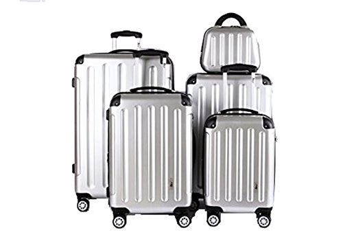 5 Teiliges Kofferset M L XL XXL + Beautycase Polycarbonat / ABS Trolley Koffer Bordcase Set Hartschale Reisekoffer Kofferset TSA Schloss (Silber) + Ersatz TSA...