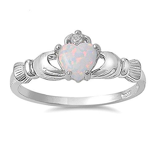 men-Ring / Verlobungsring Claddagh - 925 Sterlingsilber - weiß Opal ()