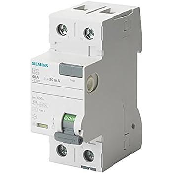 Siemens 5SV–Classe A interruttore differenziale 2p 40a 30mA 70mm