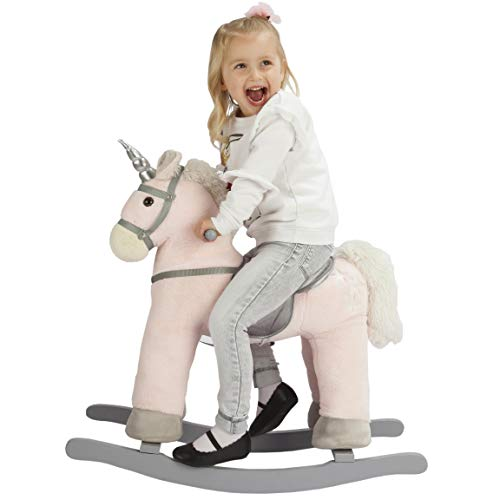 Heritage Deluxe 68cm Unicorn Rocking Horse With Sounds - Soft Pink & Grey - Ride On Toy For Girls