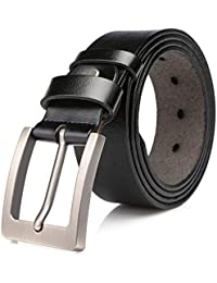 Dovava Mens Leather Belt, Leather Belts For Men, 100% Leather Belt Men, Suits For Casual & Formal & Business & Working Clothes,Nice Gift Cloth Bag Included