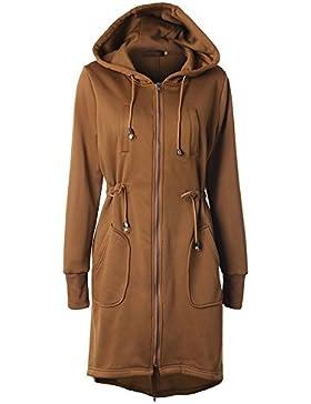 [Sponsorizzato]ShallGood Donna Lungo Cappotto con Cappuccio Giacche Abbottonato Manica Lunga Parka Giacca Jacket Chiusura Bottoni...
