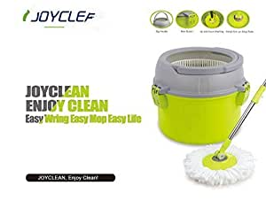 Enya 360 Degree Deluxe Spin Easy Magic MOP Wring and Clean Microfibre Mop and Bucket with Power Spin Plus Extra MOP Heads - Blue (Blue)