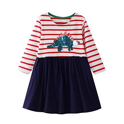 INLLADDY Kleider für Mädchen Langarm Streifen Einteiler Knielange Cartoon Drucken Causal Kleid für 2-7 Jahre Marine 2-3 Jahre