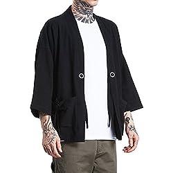 ROBO Hombres Camisa Kimono Camisa de Algodón de Primavera Estilo Japonés para Hombres
