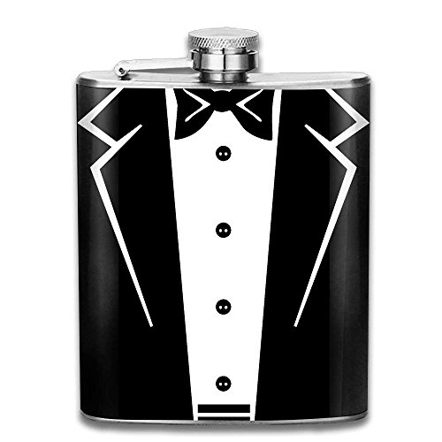 Miedhki Tuxedo with Black Bow Tie Personalised Pocket Hip-Flask Outdoor Portable Flagon for Drinking Whiskey Liquor Alcohol Vodka Flasks 304 Stainless Steel(7oz) -