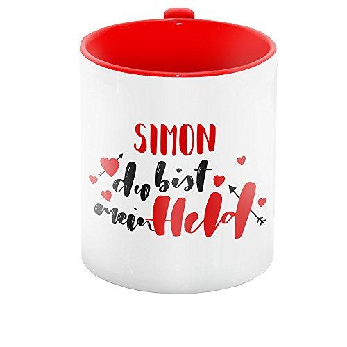 Lettering-Text - Simon du bist mein Held - für Verliebte zum Valentinstag | Liebes-Tasse für Paare ()