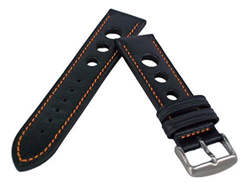 Leder Uhrenarmband 18mm-24mm Grand Prix Rally Schwarz mit Naht Armband 20mm Orange