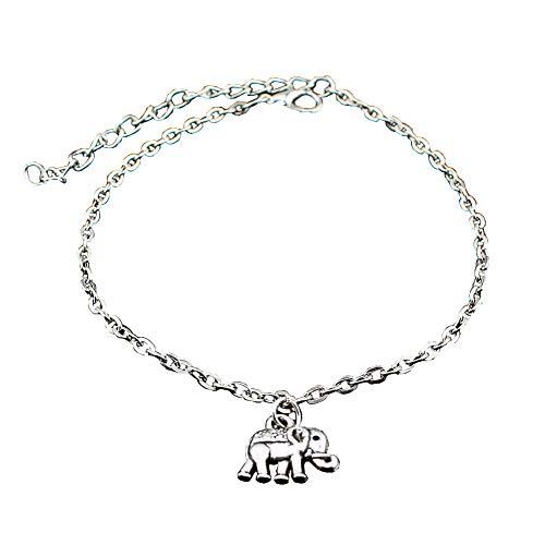 Jingyuu Cadena de Tobillo pequeña Cadena de Elefantes Accesorios de Moda Pulsera...