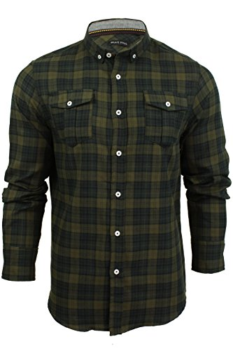 Chemise à carreaux et manches longues par Brave Soul pour homme Pine - Moss