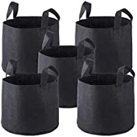 Grow Bags [5 Pack], PEMOTech 5 Gallons Premium Breathable Nonwoven Fabric Pots with Strap Handles for Nursery Garden and Planting Grow,Best Root Treatment Eco-Friendly Planter Bag (Black)