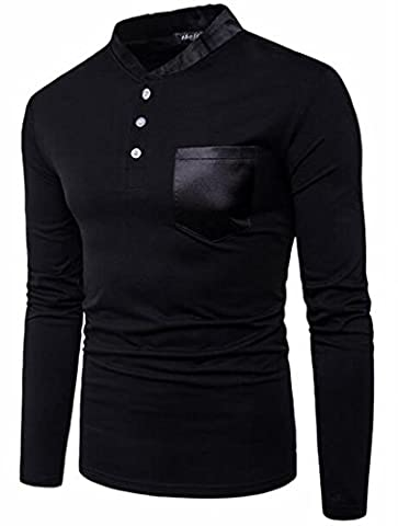 today-UK Mens Long Sleeve Casual Stand Collar Slim Fit Patchwork