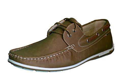 Elifano Footwear Herren Mokassin Bootsschuhe Wildleder Müßiggänger Schuhe Flache Hausschuhe (45 EU, Camel)
