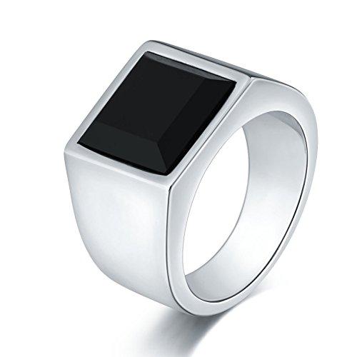 stahl Ring für Herren Glatt Schwarz Zirkonia Breite 15 MM Vintage Ring Silber Freundschaftsring Partnerring Gr. 54 (17.2) (Russische Kostüme Bilder)