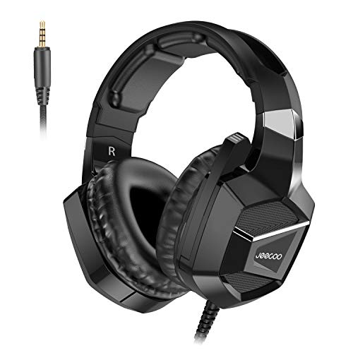 Jeecoo J20 Stereo Gaming Headset für PS4, Pro, Xbox One S, Xbox One Controller, Noise Cancelling Over Ear Kopfhörer mit Mikrofon, Bass Surround Soft Memory Earmuffs für PC Nintendo Switch Games