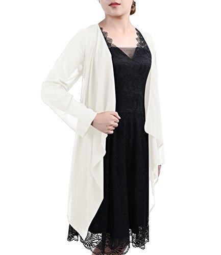 Timormode Damen Elegant Bolero Schlicht Chiffon Jacke Cape Sommer Strand Jacke 10381 3XL Ivory