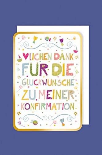Feste Feiern Danksagungskarten zur Konfirmation I 5 Teile Danksagung Karten Doppelkarten mit Briefumschlägen I Vielen Dank bunt mit goldener Prägung