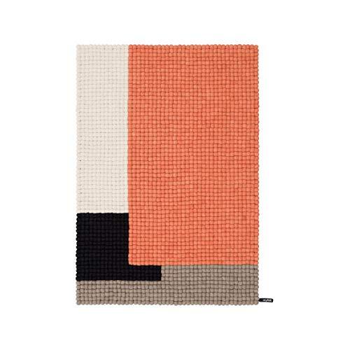 myfelt Cube Filzkugelteppich rechteckig, Lachsfarben grau schwarz weiß 90x130 cm
