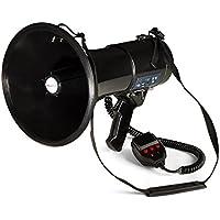 auna - MEGA080USB, Megáfono, Micrófono de Mano, Grabadora, 80 W, MP3, USB, Intemperie, Alcance 700 m, Correa Hombro, Modo Habla, Sirena o silbido, A Pilas, SD, Negro
