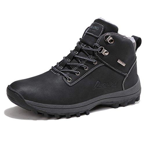 Sixspace Herren Schneestiefel Winterstiefel Warm Gefütterte Winterschuhe Stiefelette outdoor Boots, Schwarz-03, 46 EU (Winterstiefel Männer)