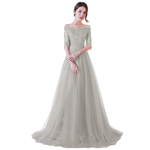 Vickyben Damen Ab-Schulter Halb Aermel huebsch Spitzen Pailetten A-Linie langes Schnuerung Prinzessin Tuell Abendkleid Ballkleid brautjungfer Cocktail Party kleid Grau