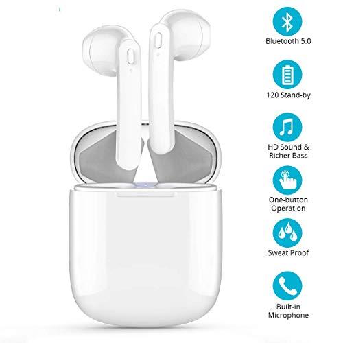 Auricolari Bluetooth Cuffie Bluetooth senza fili Sport, Hi-Fi Auricolari con Custodia Di Ricarica Portatile, Cancellazione del...