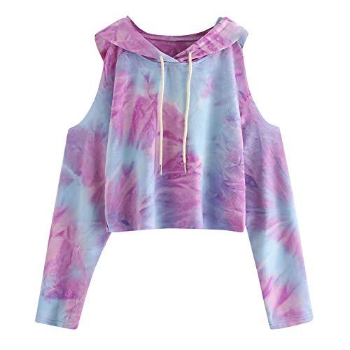 Subfamily Frauen Hoodie TräGerlos Bedrucktes Sweatshirt Langarm Pullover Tops Bluse Frauen Off Shoulder Print Hoodie Damen