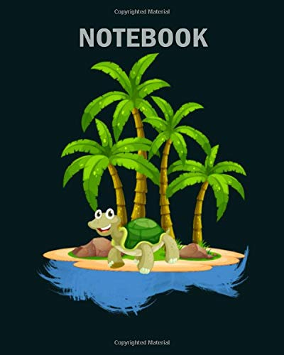 Notebook: funny turtle chilling on an lonely palmtree island - 50 sheets, 100 pages - 8 x 10 inches