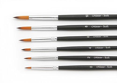 Paintersisters Soft Rundpinsel 6er-Set in den Größen 0 - 10, feine Nylonpinsel für Aquarell und Acylfarben