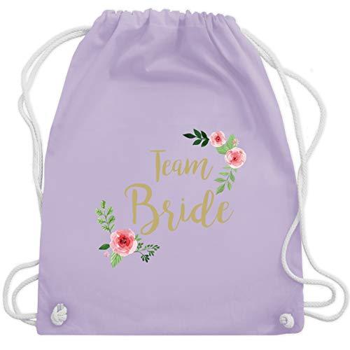 JGA Junggesellinnenabschied - Team Bride Blumen vintage - Unisize - Pastell Lila - WM110 - Turnbeutel & Gym ()