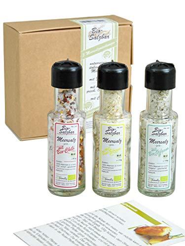 direct&friendly Bio Salzbar grobes Meersalz mit Chili, Oregano und Zitrone, 3er Geschenkset