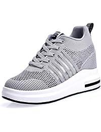 cfe5219ed74845 AONEGOLD® Damen Sneaker Wedges mit Keilabsatz Turnschuhe Sportschuhe  Laufschuhe Atmungsaktive Mesh Freizeitschuhe