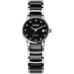 Jiusko Womens Analog Quartz Classic Dress Wrist Watch - Sapphire - Black Ceramic and Silver Stainless Steel - Black Dial - Date - 90SSB02