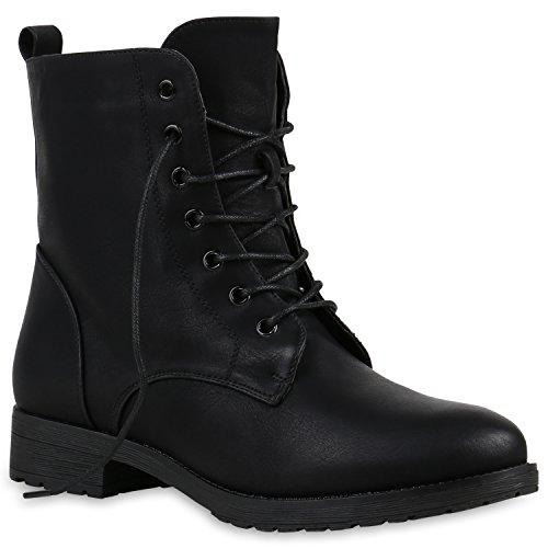 Damen Schnürstiefeletten Profilsohle Boots Camouflage Stiefeletten Leder-Optik Schnür Übergrößen Schuhe 121103 Schwarz A 39 Flandell (Schwarze Damen Stiefeletten)