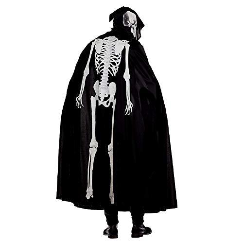 shoperama Halloween Kapuzen-Umhang Skelett-Aufdruck Leuchtend fluoreszierend Glow in -