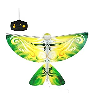 Playtech Logic RC Remote Control Flying Bird, Pink Butterfly, Blue Pigeon, Orange Phoenix and Green Parrot (27Mhz) - With Flapping Wings, Lights and Sound Effects (Parrot (Green))