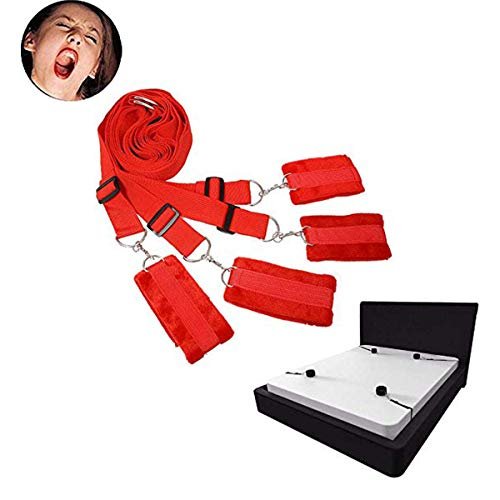 Marilia Einstellbare Multifunktions-Soft Durable Handschellen Fußschellen Paare Schlafzimmer, rot - Roten Bett Ensemble