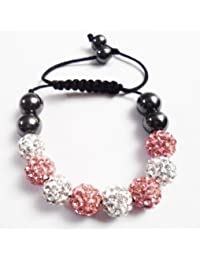 Children Pink & Silver (UC) Kids Shamballa Bracelet Black Cord Clay Crystal Disco Ball