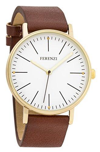 Ferenzi FZ17204 goldfarbene Damen-Armbanduhr, modisch, minimalistisch, dunkelbraunes Polyurethan-Lederarmband