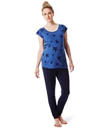 Noppies Schlafanzug / 2 in 1 Umstandsschlafanzug Sleep Shirt + Hose Pyjama Nachtwäsche / S (34-36) (Blaue Sleep-pant Damen)