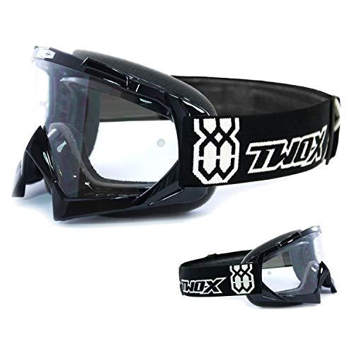 Two-X Race Crossbrille MX Brille schwarz Motocross Enduro Klarglas Motorradbrille Anti Scratch MX Schutzbrille