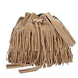 Felicove Damen Beutel Tasche Messenger Damen Mode Lässig Quaste Solid Bags Kordelzug Schultertasche (Khaki)